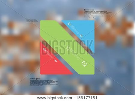 Illustration infographic template with motif of rectangle askew divided to three standalone color sections with simple sign number and sample text. Blurred photo is used as background.