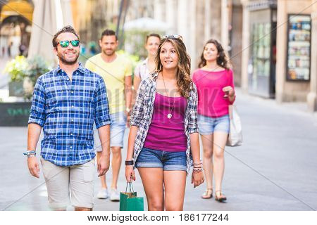 Friends Walking In The City