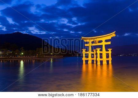 Itsukushima Shrine in Japan at night