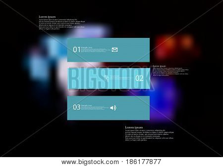 Illustration infographic template with motif of rectangle horizontally divided to three standalone blue sections with simple sign number and sample text. Blurred photo is used as background.