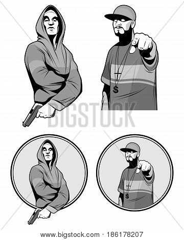 Vector illustration of a two gangster rapper