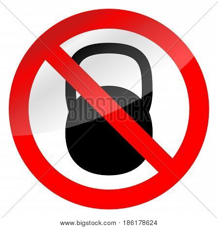 Sign ban weights. Black silhouette of weights. Vector illustration