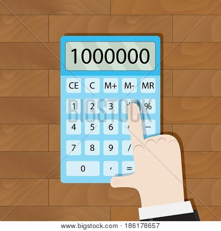 Use calculator in workplace. Man hand calculator calculate money and home budget. Vector illustration