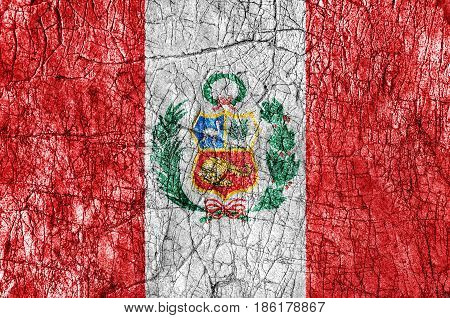 Grudge stone painted Peru flag close up
