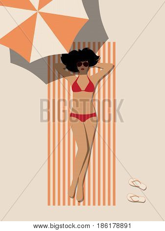 Woman is sunning on beach. Silhouette of girl in red swimsuit and glasses under sun umbrella. Vector illustration of flat design.