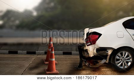 Car Accident Damaged On The Road Car Crash Accident On Street, Damaged Automobiles