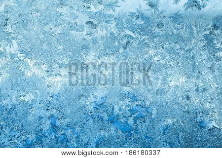 Blue Color Frosty Glass Ice Background, Natural Pattern. Winter Abstract Backdrop, Background Texture