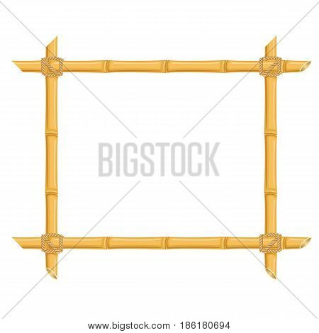 Bamboo frame with place for text. Isolated vector illustration on white background.