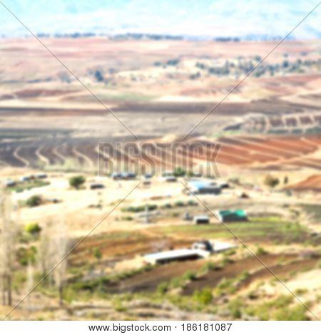 In Lesotho  Street Village Near  Mountain