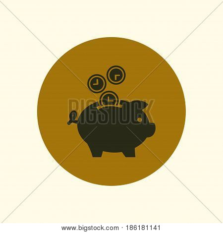 Time is money piggy bank icon. Flat design style.