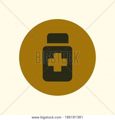 Drugs sign icon. Pack with pills. Flat design style.
