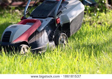 Beautiful fresh green grass on lawn and electric lawn mower