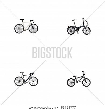 Realistic Road Velocity, Extreme Biking, Folding Sport-Cycle And Other Vector Elements. Set Of Lifestyle Realistic Symbols Also Includes Track, Cyclocross, Extreme Objects.