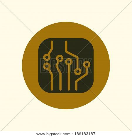 Circuit board  icon. Technology scheme square symbol. Flat design style.