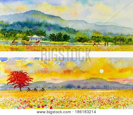 Watercolor landscape original painting family fitness by ride bicycle and run in colorful of nature mountain and emotion in blue sky cloud background
