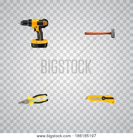 Realistic Stationery Knife, Electric Screwdriver, Pliers And Other Vector Elements. Set Of Kit Realistic Symbols Also Includes Pliers, Sledge, Electric Screwdriver Objects.