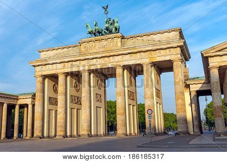 The Brandenburg Gate in Berlin in the early morning sunshine