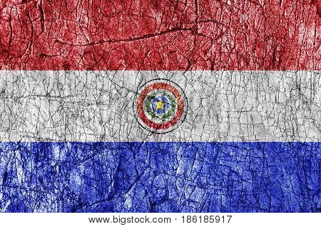 Grudge stone painted Paraguay flag close up