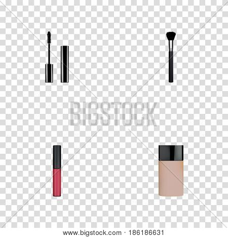 Realistic Concealer, Fashion Equipment, Liquid Lipstick And Other Vector Elements. Set Of Cosmetics Realistic Symbols Also Includes Brush, Pomade, Eyelashes Objects.