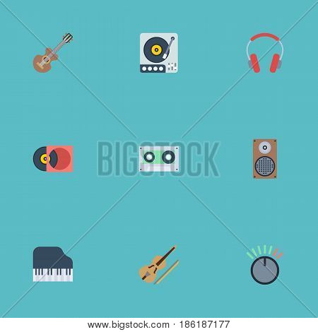 Flat Knob, Octave Keyboard, Audio Box And Other Vector Elements. Set Of Music Flat Symbols Also Includes Disc, Audio, Cassette Objects.