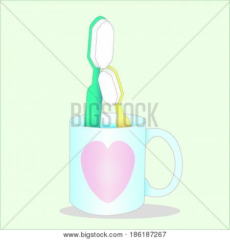 green toothbrush and yellow toothbrush in lovely heart blue glass. Vector . Illustration.graphic design.