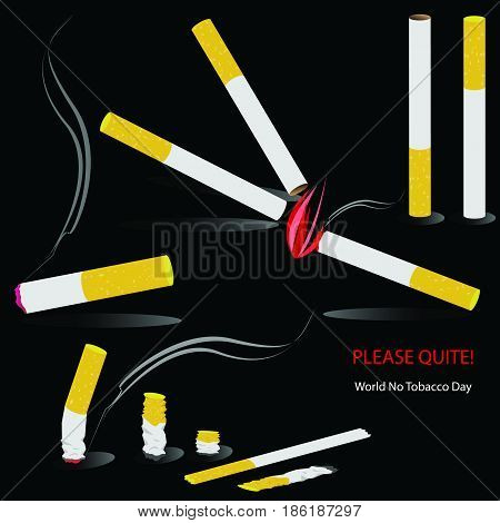 A set of cigarette with smoke and fire on black background. May 31st  World No Tobacco Day. vector. illustration. graphic design.