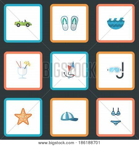 Flat Car, Beachwear, Fly And Other Vector Elements. Set Of Summer Flat Symbols Also Includes Cap, Alcohol, Aqualung Objects.
