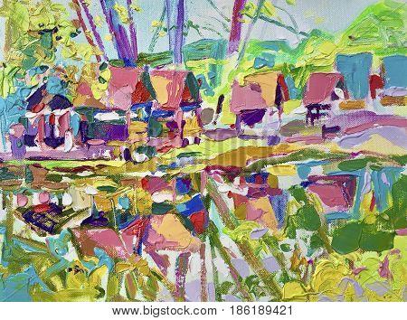 plein air oil painting of rural landscape, contemporary art composition of Ukrainian village