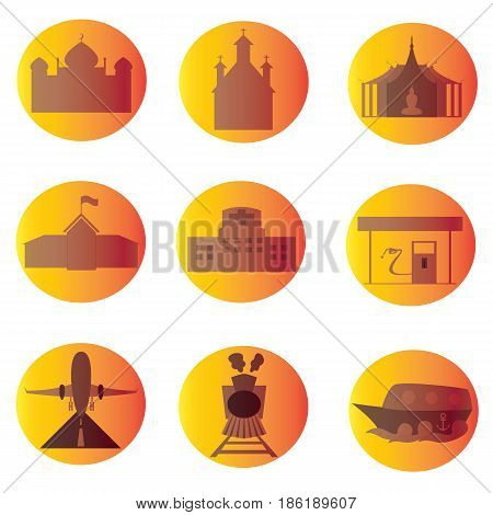 public places, religious places and transport place in circle logo. yellow and orange tone. Vector. Illustrator. graphic design.