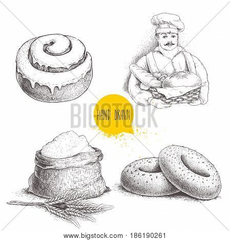 Hand drawn set bakery illustrations. Baker with fresh bread sesame bagels iced sweet cinnamon bun and sack with whole flour with wheat bunch. Vector illustrations isolated on white background.