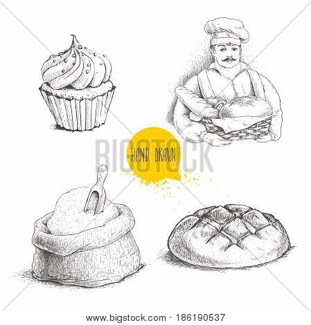 Hand drawn set bakery illustrations. Baker with baker basket of fresh bread bread loaf cupcake and sack with flour and wooden scoop isolated on white background.