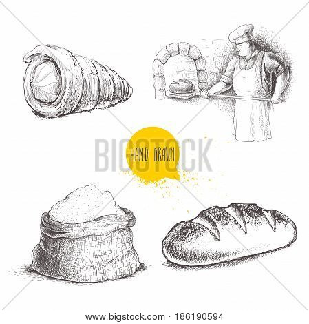 Hand drawn set bakery illustrations. Baker making fresh bread in stone oven cream roll fresh baguette and flour sack isolated on white background.