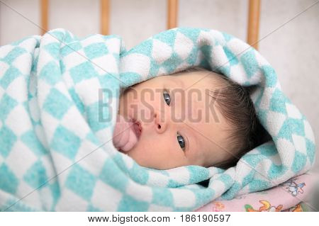 Newborn jaundice, baby portrait lying in blanket