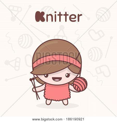 Cute Chibi Kawaii Characters. Alphabet Professions. Letter K - Knitter