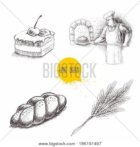 Hand drawn set bakery illustrations. Baker making fresh bread in stone oven cream chocolate cake with cherry fresh sesame bun and wheat bunch.Vector isolated on white background.