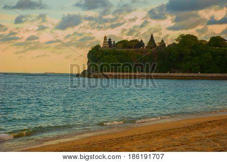 Beach In Nusa Dua Bali. Geger Beach. Indonesia. Sunset.