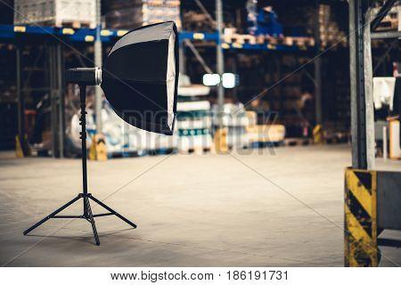 Photography Studio Octagon Flashlight on Stand. Photo Equipment.