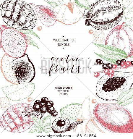 Vector hand drawn smoothie bowls poster. Exotic engraved fruits. Colored art. Frame border composition. Banana, mango, papaya, pitaya, acai, lychee, fig. for exotic restaurant market food delivery