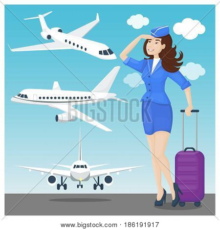 Stewardess brunette and plane set in blue and white colors. Vector illustration, cartoon style