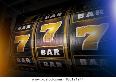 Slot Machine Concept 3D Illustration. Golden Sevens and Bars Black Vegas Style Slots.