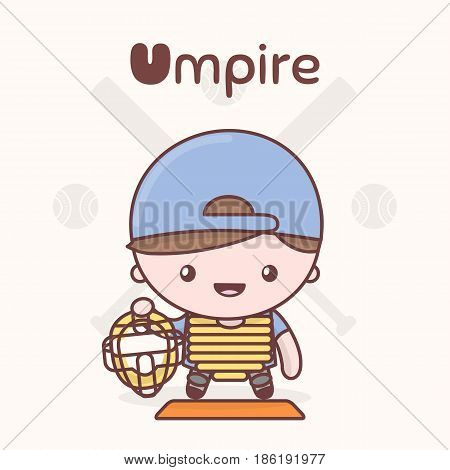 Cute Chibi Kawaii Characters. Alphabet Professions. Letter U - Umpire.
