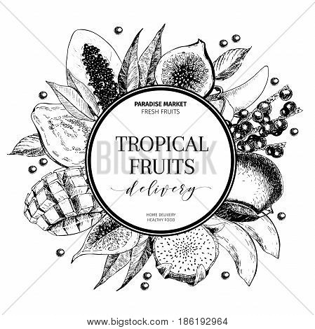 Vector hand drawn smoothie bowls poster. Exotic engraved fruits. Round border composition. Banana, mango, papaya, pitaya, acai, lychee, fig. for exotic restaurant market food delivery