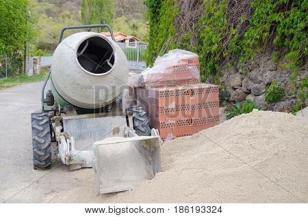 Concrete Mixer In A Construction Site
