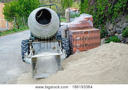 Porable Cement Mixer Placed In The Street