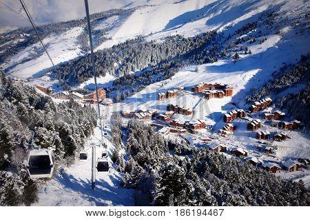 A mountain village Meribel-Mottaret view from skilift cabin, Three Valleys, France