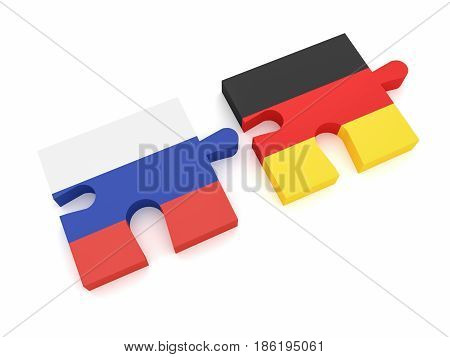 Russia Germany Partnership: Russian Flag And German Flag Puzzle Pieces 3d illustration on white background