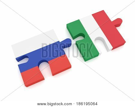 Russia Italy Partnership: Russian Flag And Italian Flag Puzzle Pieces 3d illustration on white background