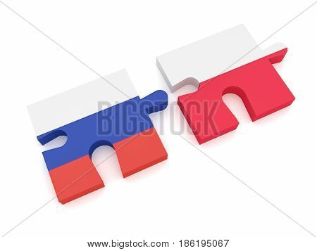 Russia Poland Partnership: Russian Flag And Polish Flag Puzzle Pieces 3d illustration on white background