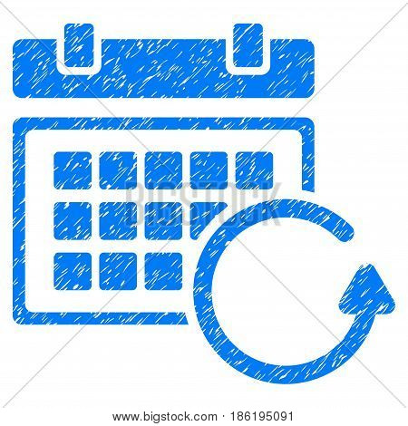 Grunge Update Calendar icon with grunge design and dirty texture. Unclean vector blue pictogram for rubber seal stamp imitations and watermarks. Draft sign symbol.