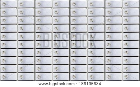 Secure safety deposit boxes with lock. Insurance banking concept.